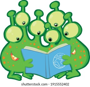 group of funny aliens look at a book manual on planet earth