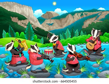 Group of funny badgers are playing music. Vector cartoon illustration
