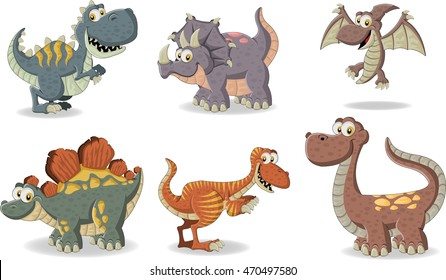 Group of funny cartoon dinosaurs.