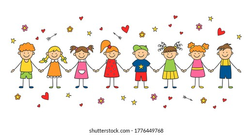 Group of funny children holding hands. Happy cute doodle kids. Isolated vector illustration in hand drawn style on white background