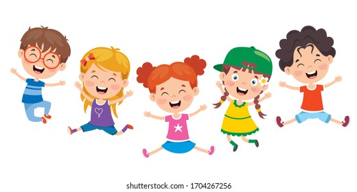 Group Of Funny Children Jumping