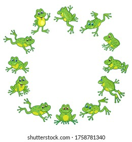 A group of funny cute frogs are jumping in a circle. In cartoon style. Round frame. Isolated on white background. Place for your text. Vector illustration.