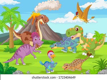 Group of funny dinosaurs in the jungle