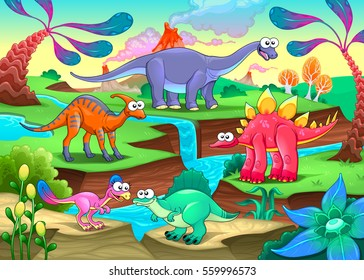 Group of funny dinosaurs in a prehistoric landscape. Cartoon vector illustration