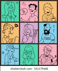 Group of Funny Doodle People in Colorful Boxes. Hand Drawn Vector Illustration for Cover Design.