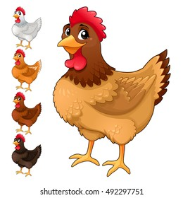 Group of funny hens in different colors. Cartoon vector isolated animals.