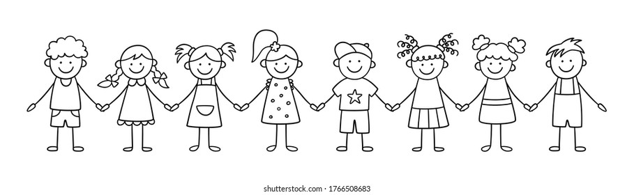 Group of funny kids holding hands. Friendship concept. Happy cute doodle children. Isolated vector illustration in hand drawn style on white background