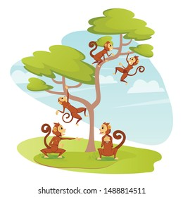 Group of Funny Monkeys Playing on Tree, Jumping and Hanging on Branches, Playful Curious Apes in Outdoor Animal Zoo Park or Nature Environment, Primates Wildlife, Cartoon Flat Vector Illustration