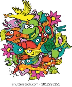 Group of funny and multicolor creatures living in a pond. Flowers, plants, frogs, ducks, insects, lizards, snails, fishes, crabs and other weird creatures compose this vivid and joyful design