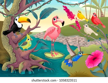 Group of funny tropical birds in the jungle. Vector cartoon illustration
