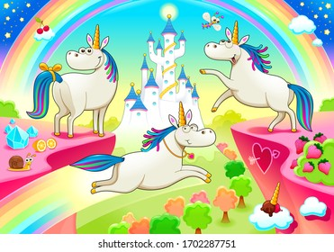 Group of funny unicorns with castle and fantasy landscape. Vector cartoon illustration