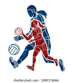 Group of Gaelic Football Female Players Sport Action Cartoon Graphic Vector