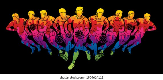 Group of Gaelic Football Men Players Action Cartoon Graphic Vector.