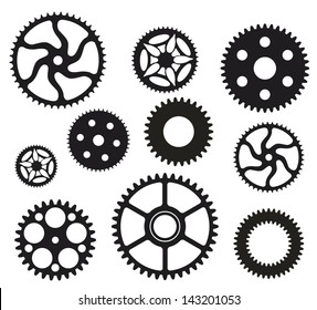 Group of gears in black and white.
