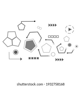 Group of geometric, white background in technology concept