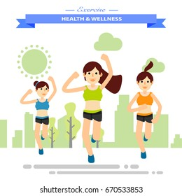 group of girl firends running happily at park. Flat character city run training. Happy lifestyle. vector illustration design.