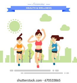 group of girl firends running happily at park. Happy City Lifestyle. Flat character city run training. Happy lifestyle. vector illustration design.