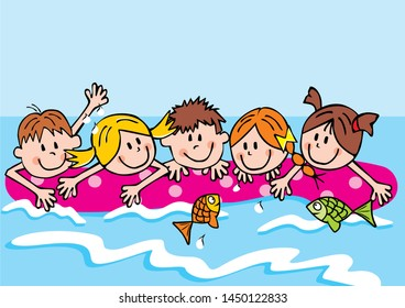 Group of girls and boys on lounger at sea, funny vector illustration. Children are swimming on a deck chair at sea.
