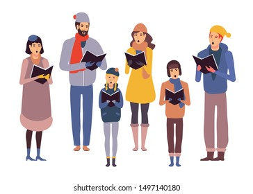 Group of girls and boys wearing outerwear singing Christmas carol. Men, women and children standing holding lyrics books performing hymn. Carolers or choristers isolated illustration. Colorful vector