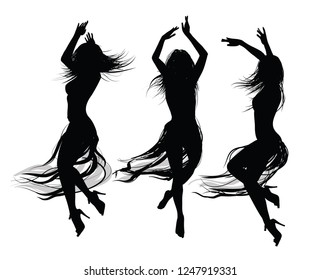 group of  girls  dancing and jumping -  vector illustration