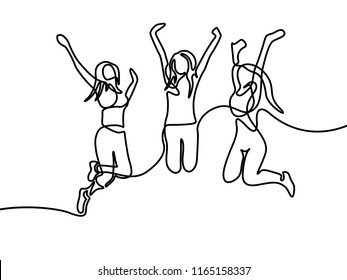 Group of girls jumping. Continuous line drawing. Vector illustration.