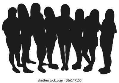 Group of Girls Silhouette