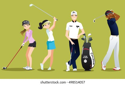 Group golfers vector isolated characters on green background