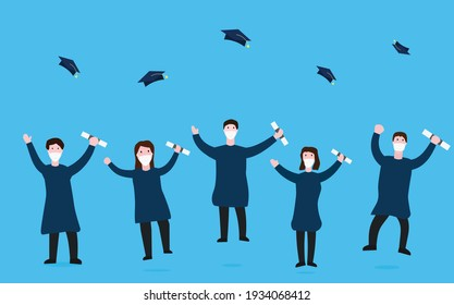 group of graduate friends with face masks throw their caps in the air as celebration, on blue background