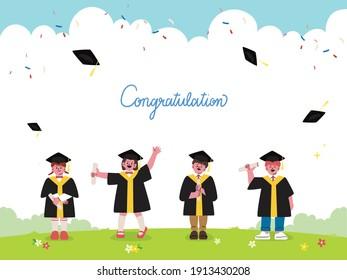 Group of graduated children wearing graduation dress, cap and holding diploma are happily celebrating school graduation. Flat cartoon vector illustration. Kindergarten, Preschool graduation.