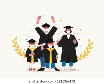 Group of graduated students wearing masks, academic dress, graduation cap and holding diploma are happily celebrating college graduation during coronavirus quarantine with Gold Laurel Wreath.