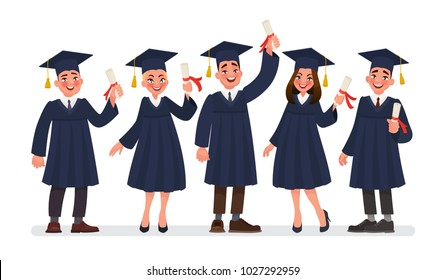 Group of graduates students with diplomas. Vector illustration in cartoon style