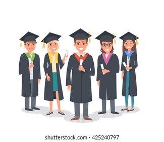 Group of graduating students standing together. Vector people illustration.