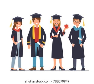 Group of graduating students standing together.  Flat style vector illustration isolated on white background.