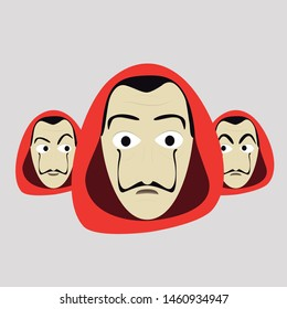 A group of guys with different Expressions, Red Hood and big moustache. La Casa de Papel (Money Heist) Vector Illustration