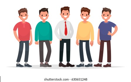 Group of guys. Set of male characters on a white background. Vector illustration in a flat style