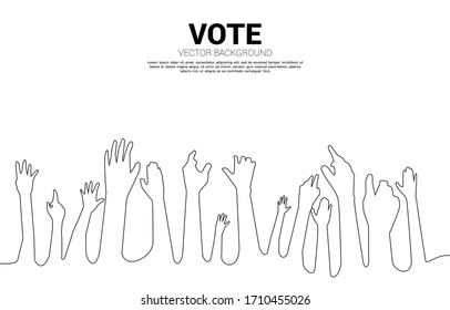 空中の手のグループを1列に並べます。グループを手配します。イベントに関する公選と人権のコンセプト。