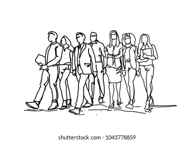 Group Of Hand Drawn Business People Walking Forward, Sketch Businesspeople Team Of Professionals On White Background Vector Illustration