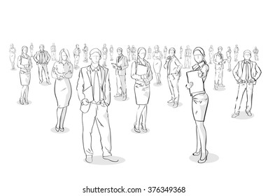 Group Of Hand Drawn Business People, Sketch Business people Vector Illustration
