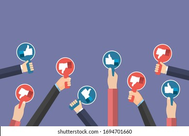 Group of hands of business people holding thumbs up and thumbs down icon paddles isolated on purple background. Testimonials, feedback, customer review concept. Eps Vector illustration. Flat style