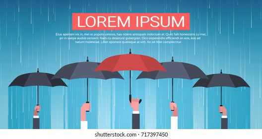 Group Of Hands Holding Umbrella Unger Huge Rain Background Back Rear View Protection Concept Vector Illustration