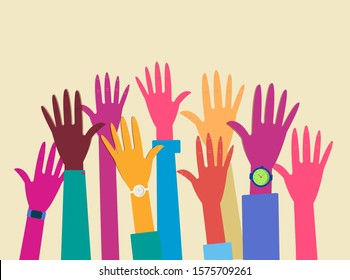 group of hands raised to the sky, multi colored hands open up to the top. Volunteering hands, participation of multiracial people. Modern flat vector illustration.