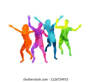 A group of happy and active young people jumping in colourful textures isolated on a white background. Vector illustration.