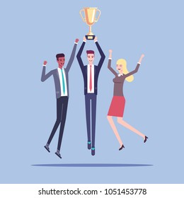 Group of happy business people celebrating a victory and jumping with a golden cup in their hands vector flat illustration. Business concept award for teamwork, successful business team.