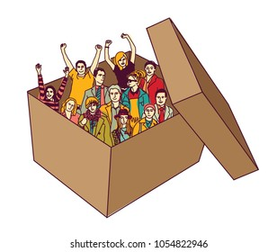Group happy business team people in box isolate.