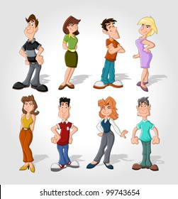 Group happy cartoon people