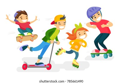 Group of happy caucasian white children playing outdoors. Cheerful active boys and girl having fun while riding a skateboard, kick scooter and roller skates. Vector isolated cartoon illustration.