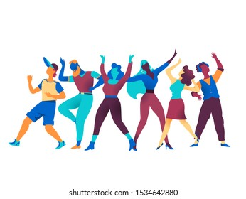 Group of happy cheering characters in different poses expressing various emotions celebrate at a party. Company men women avatars isolated on white background. Vector illustration