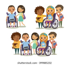 Group of Happy Children with books and tablets. Caring for the disabled child concept. Learning and playing together. Handicapped Kid. Vector. Isolated.