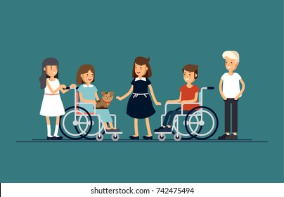 Group of happy children communicate with each other and and playing together. Caring for the disabled child concept. Vector flat iilustration boy and girl friends.