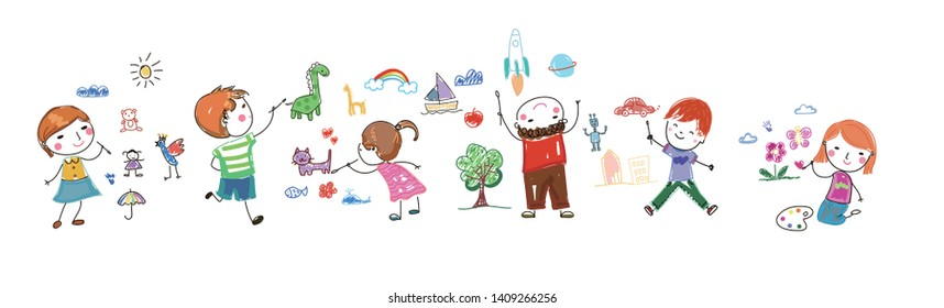 Group of happy children drawing - Shutterstock ID 1409266256